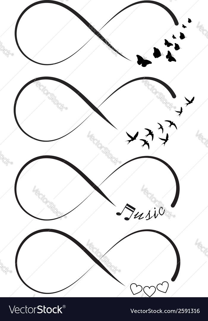 Vector image of Infinity symbols Vector Image, includes bird, love, background, icon & music. Illustrator (.ai), EPS, PDF and JPG image formats.