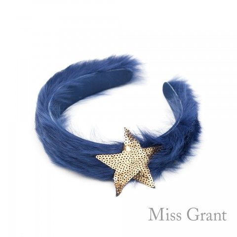#MISSGRANT - FUR HAIRBAND WITH GOLDEN STAR - elegant #accesory for girl #OUTLET