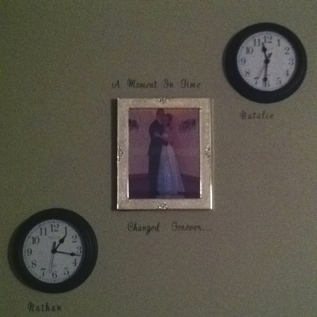 Wedding Picture With Clocks Childs Birth Time A