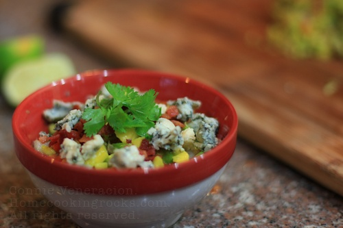 Chunky guacamole with sage, bacon and blue cheese