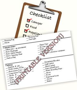 A Master Camping Checklist… Camping equipment and Supplies list … Free  printable camping