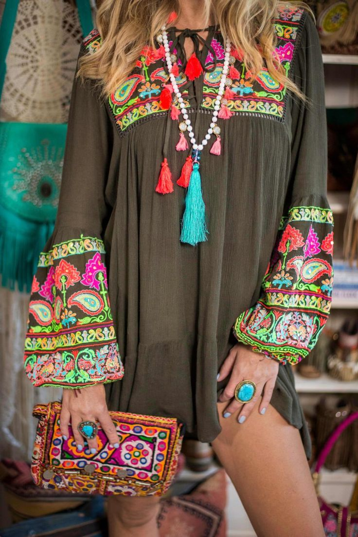 Creating the perfect boho winter look! This embroidered boho dress is such a great addition to your winter collection.