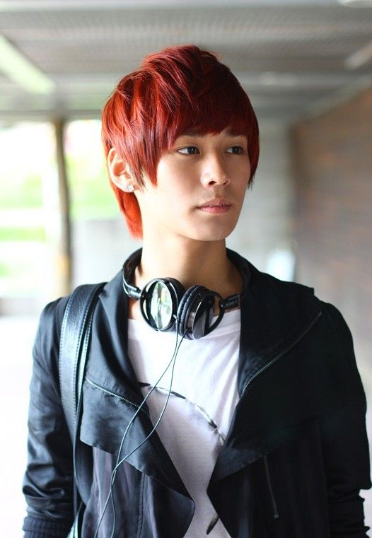 Beautiful Short Red Korean Hairstyle For Young Guys