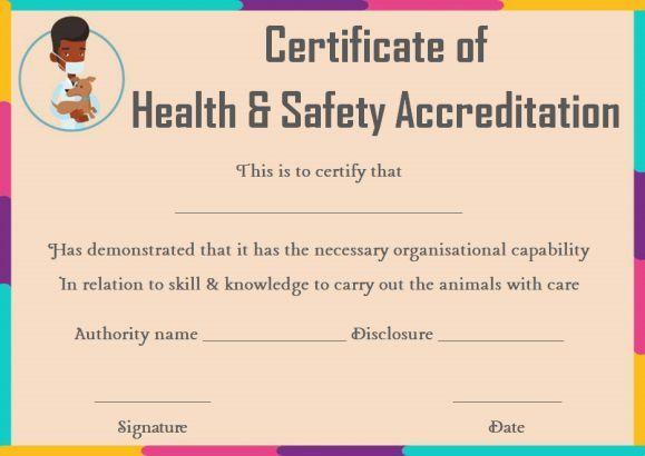 Pet Health Certificate Template Certificate Templates Pet Health Word Template
