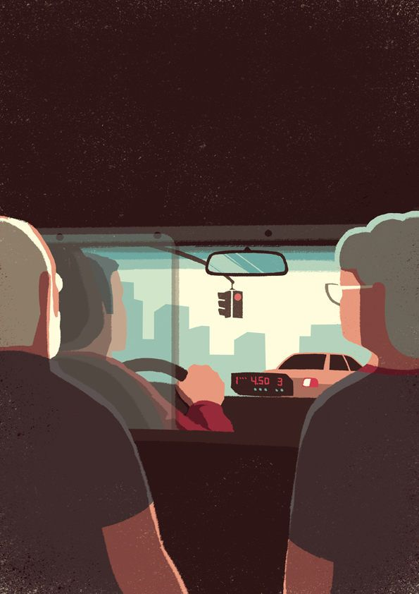 'Day Trippers' , made by: Davide Bonazzi - illustration (in a taxi)