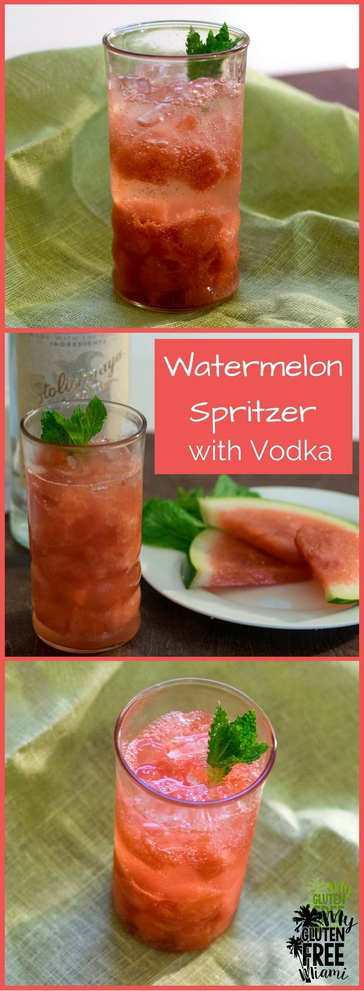 Watermelon Spritzer with Gluten Free Vodka, refreshing and crisp, perfect for a hot summer night! Kid friendly version included! via @glutenfreemiami