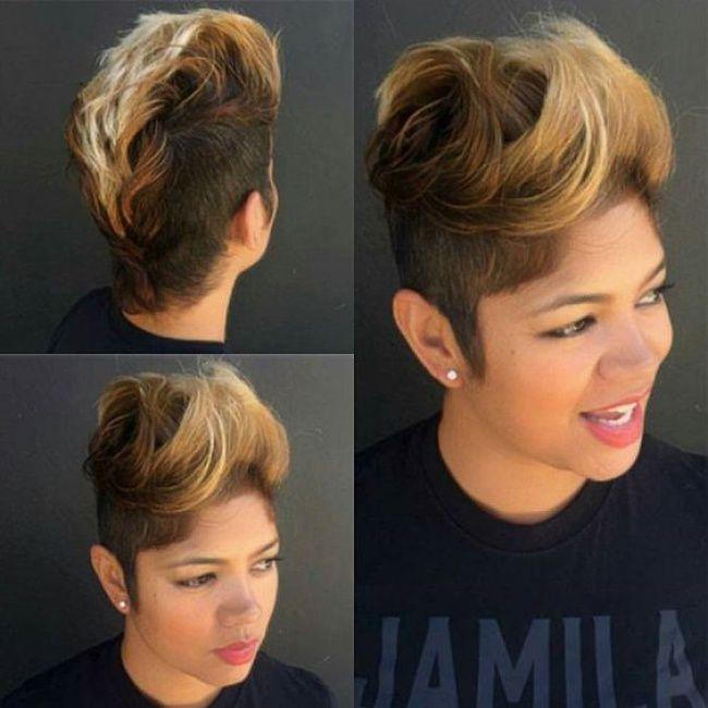 Les 25 meilleures id es de la cat gorie coiffures de c t - Coiffure femme rase ...
