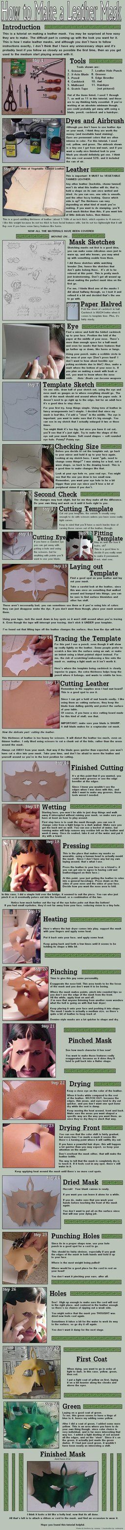 Leather Mask Making Tutorial by ~Ranasp on deviantART.  unfortunately, the directions page I can Pin doesn't include a picture of the finished mask which is AWESOME!