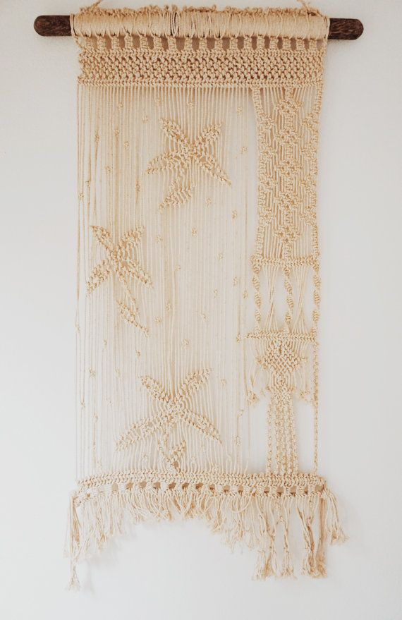 Vintage Macrame Wall Hanging Handmade Stunning Woven by ForesterCo