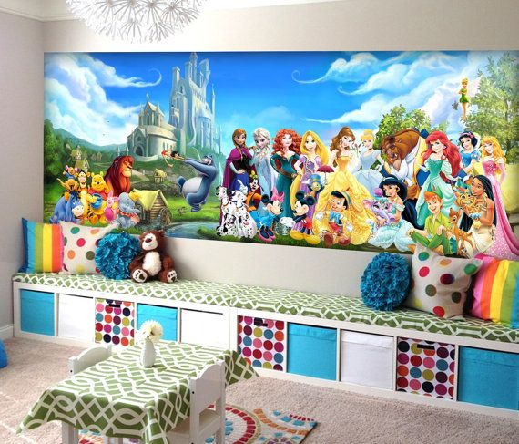 Disney Charachters Wall Mural Vinyl Wallpaper By KIINOO