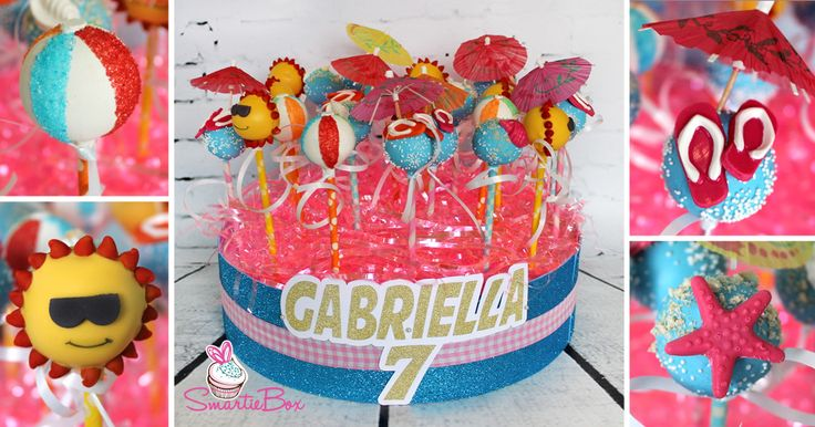 Beach Party Cake Pops with Col Sun, Beach Balls, Flip flops and umbrellas and star fish cake pops - SmartieBox Cake Studio
