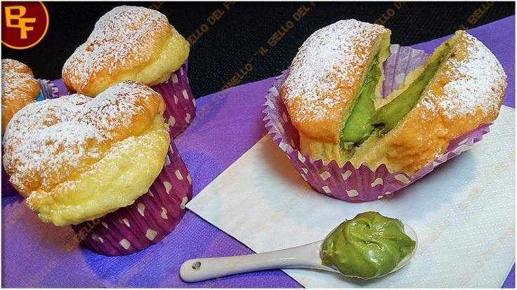 Muffin all'acqua con crema di pistacchio