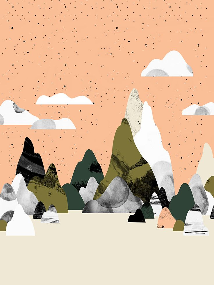 ☁☀ So beautiful, love the watercolor textures and the peachy vs mushy green color palette. Noémie Cédille | @oozefina #mood #mountain #illustration ⤴︎