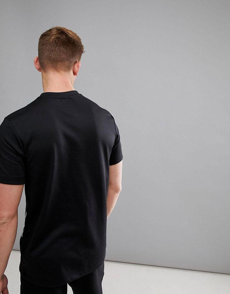 Bershka SPORT Slogan T-Shirt In Black - Black