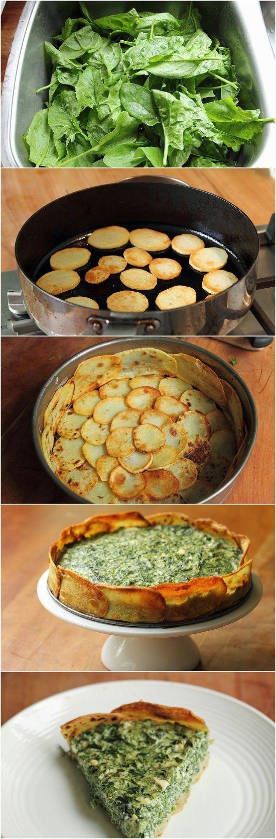 Tarta de patatas y espinaxas: 600 g, de patatas aceite de oliva 350 g de espinacas 2 huevos 1 taza de queso ricotta perejil, cebollino, eneldo 100 g queso feta, desmenuzado ralladura de 1 limón sal pimienta