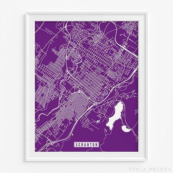 Scranton, Pennsylvania Street Map Wall Art Poster. Starting at $9.90 with 42 color choices. Click Photo for More Info - #streetmap#map#homedecor#wallart #Scranton #Pennsylvania