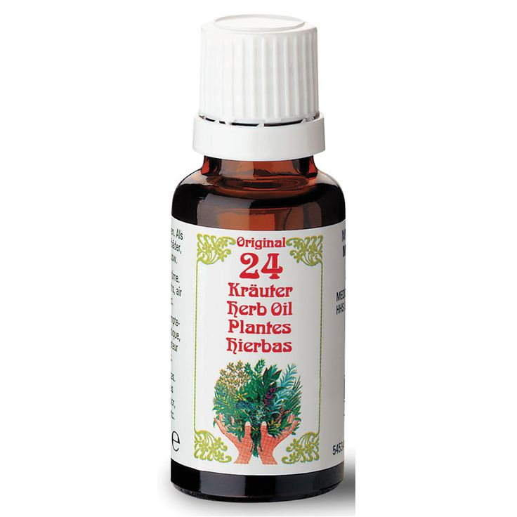 Originele 24 kruiden-olie  Description: Een speciale mix van 24 pure essentiële oliën uit de beste verschillende delen van de plant (bloemen bladeren hout de stam wortels vruchten en zaden) die een verscheidenheid aan actieve en aromatische middelen bevatten. Geschikt als massageolie voor in het bad voor een kompres in gezichtssauna?s verdampers en aroma lampen. De 24 kruiden olie bestaat o.a. uit pure essentiële oliën van de volgende planten: eucalyptus citroen pepermunt sinaasappel ananas…