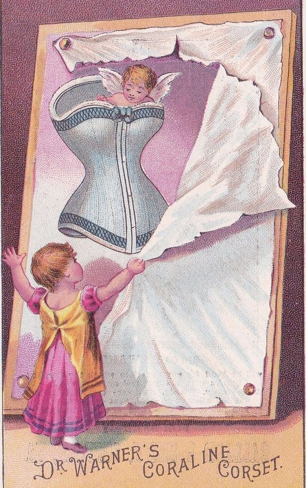 1800's Victorian Trade Card DR. WARNER BROTHERS CO, CORALINE CORSETS #VictorianTradeCard