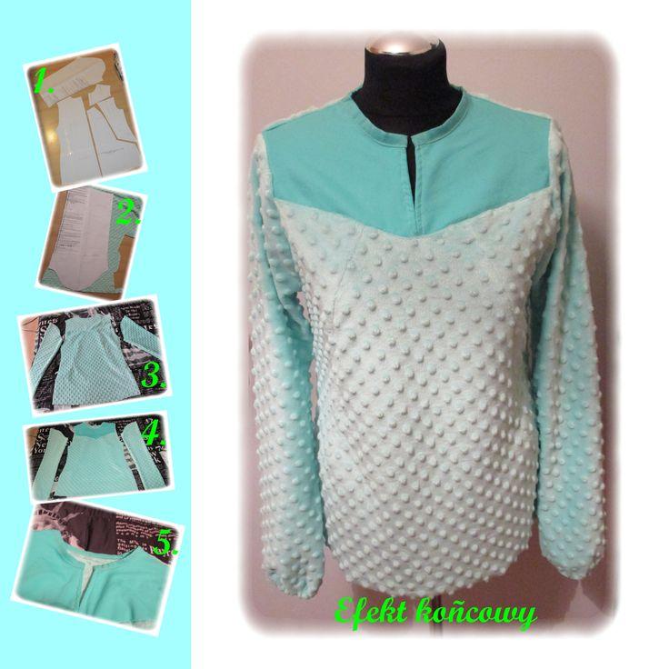 Bluza damska uszyta ze zmodyfikowanego wykroju Papavero.  Źródło: http://www.papavero.pl/wykroje-do-pobrania/1003-1003