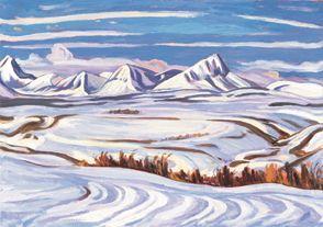 "A.Y. Jackson (1882-1974), Canadian / ""Early Snow, Alberta"", 1937... scene near Bar X Ranch near Pincher Creek /"