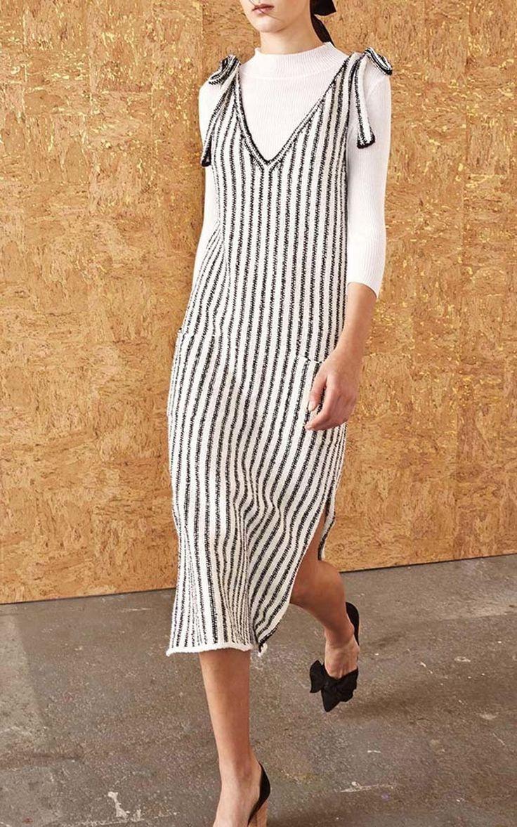 Striped Midi Dress with Ribbon Detail by Ulla Johnson | Moda Operandi