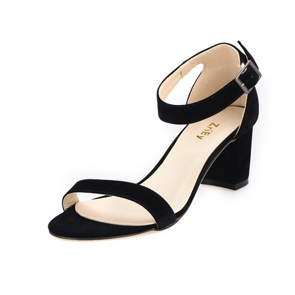 Fashion Ankle Strap Shoes Suede Mid High Heels Woman Shoes Open Toed Sandals Sexy High Heels Sandals Ladies Pumps