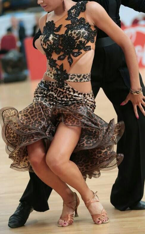 Latin Dress with Chocolate Brown Crinoline / Horsehair Braid Trim