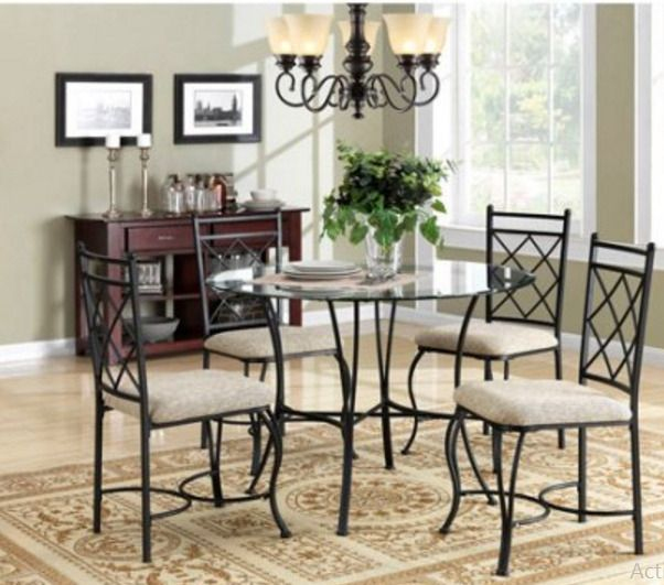 Glass Top Dining Tables Round Table And Chairs For 4 5 Piece Metal