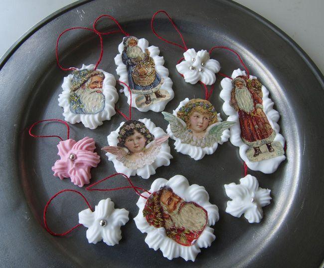 Gör fina dekorationer till jul med kristyr och bokmärken med änglar och tomtar. Recept på kristyr.