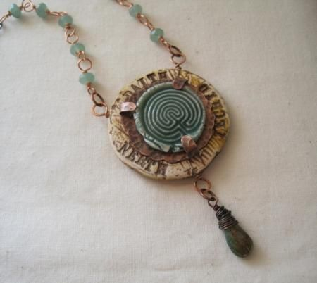 """Journey"" pendant. Mixed media.   J. Davies-Reazor: Labyrinth Theme, Ceramic Cab, Polymer Clay, Handmade Necklaces"