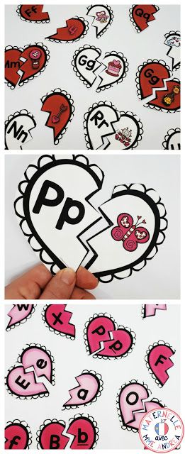 Maternelle avec Mme Andrea: [My Faves] - My Favourite French Valentine's Day Resources - Adorable Valentine's Day puzzles (upper/lowercase letters and beginning sound matches)