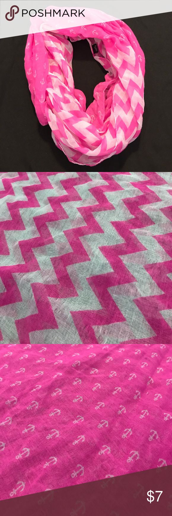 Rue 21 Pink Chevron and Anchors Scarf Two-toned pink and white scarf. Has chevron and anchor pattern. Rue21 Accessories Scarves & Wraps