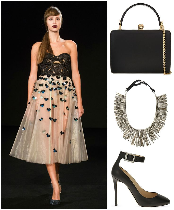 Look stunning for a date night in this number by @zuzanakubickova. A classic pair of #jimmychoo heels, a #brunellocucinelli necklace and an #alexandermcqueen clutch are the icing on the cake. #datenight #whattowear #fashion #czechdesigner