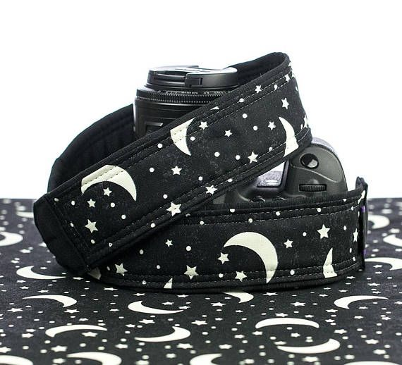 Camera Strap, Glow in the Dark, Moons and Stars, Replacement Strap, SLR, Mirrorless, Camera Neck Strap, 302