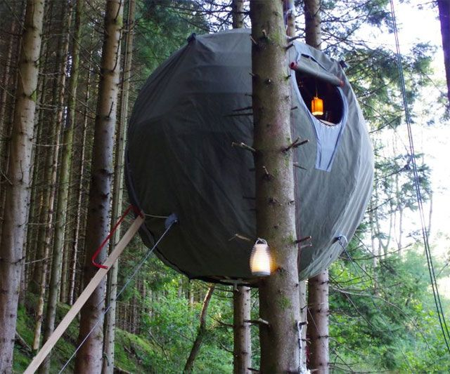 Sleep peacefully at night in a bubble tent (imagine it painted in camo to better blend in to the trees) safely put of the reach of clawing creatons     The Tree Tent | DudeIWantThat.com