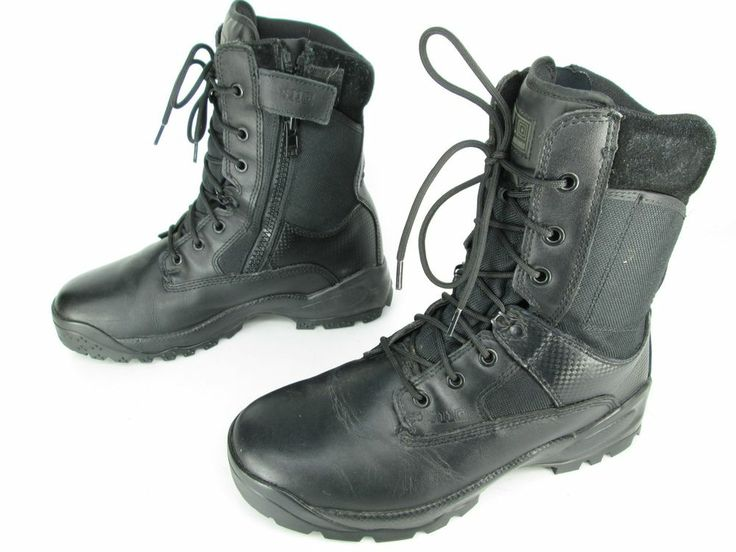 Mens 5.11 Tactical Series Black Leather Zip Combat Military Swat Boots Sz 10
