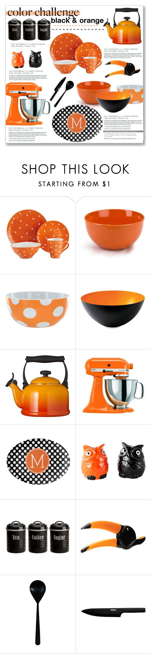 """""""Black & Orange Kitchen Accessories"""" by kellylynne68 ❤ liked on Polyvore featuring interior, interiors, interior design, home, home decor, interior decorating, Le Creuset, KitchenAid, Dot & Bo and Typhoon"""
