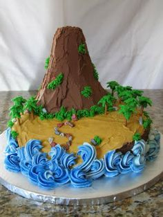 "for B's ""volcano-car cake""- maybe put a small cup of dry ice in the top to make it smoke?"