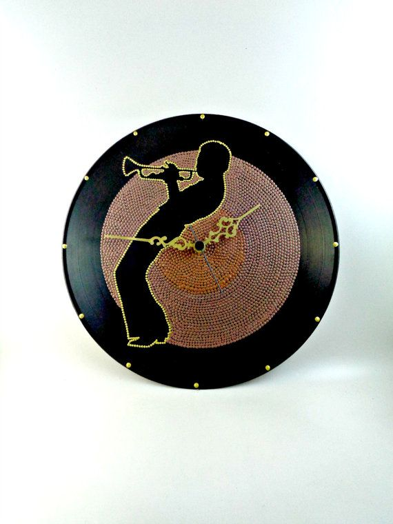 Miles Davis Vinyl Clock Jazz Hand Painted Brown by InsaneDotting