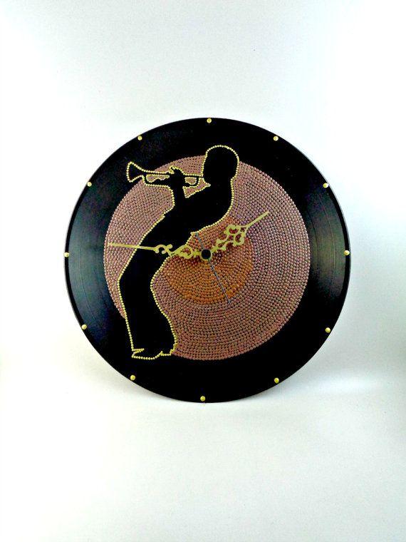 Miles Davis Vinyl Clock Jazz Hand Painted Brown by InsaneDotting