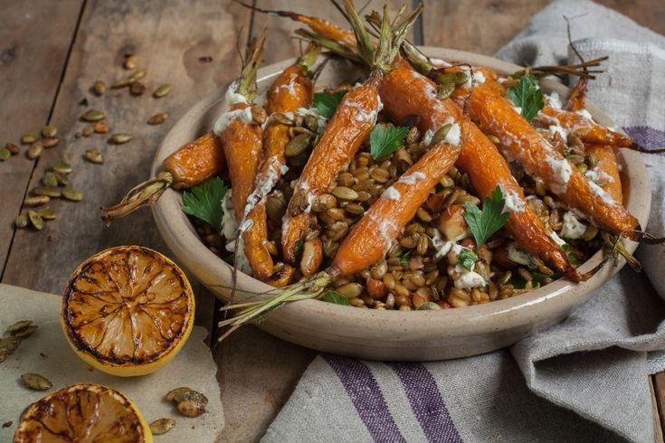 Cumin Roasted Carrot Farro Pilaf