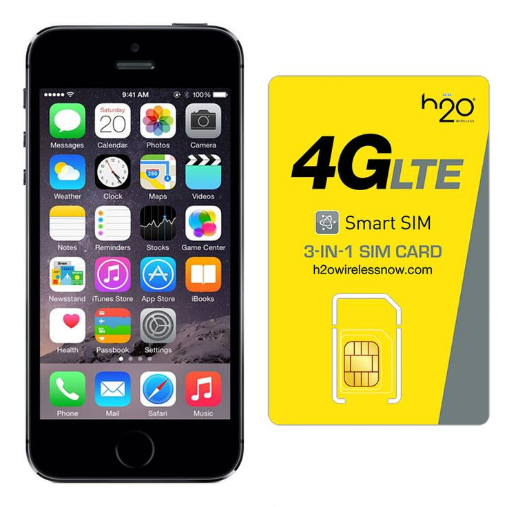 Refurbished iPhone 5S AT&T Space Gray 64GB & H20 4G LTE SIM Card (1GB Data Included)