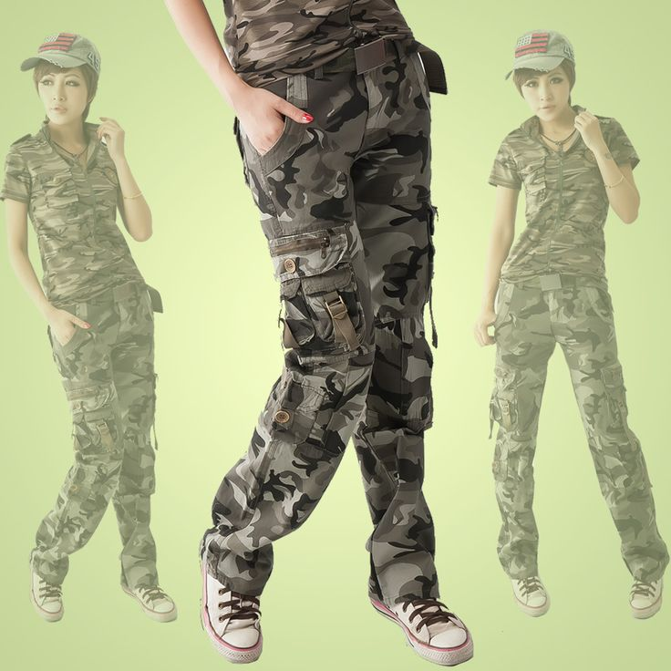 2015 zomer vrouwen militaire uniformen camouflage baggy multi pockets cargo broek overalls plus size losse broek voor vrouwen