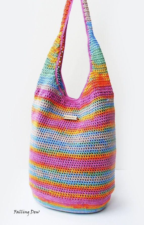 Crochet Handbag / FREE EARRINGS / Crochet Purse, Spring Handbag / Summer Bag, Pink Handbag, Cotton / Full Lining / Summer Fashion Handbag on Etsy, £43.00