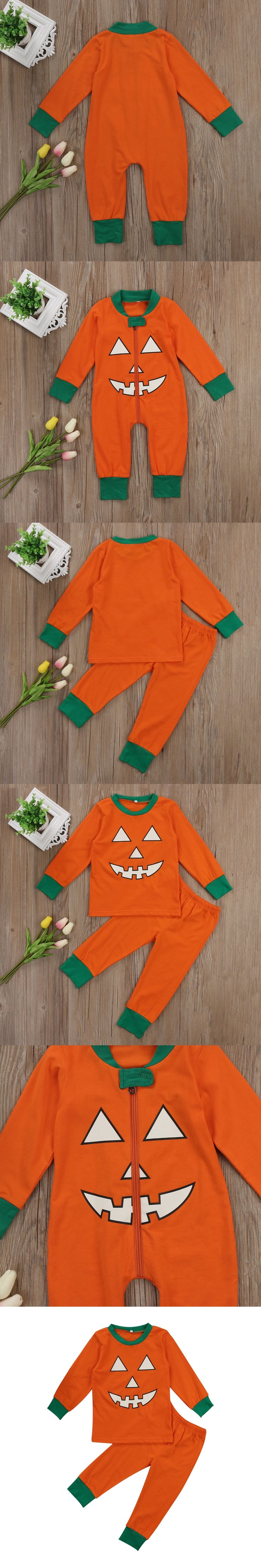 Lovely Newborn Infant Baby Kids Girls Boys Family Matching Halloween Outfit Clothes Zipper Romper Jumpsuit+Pants Set