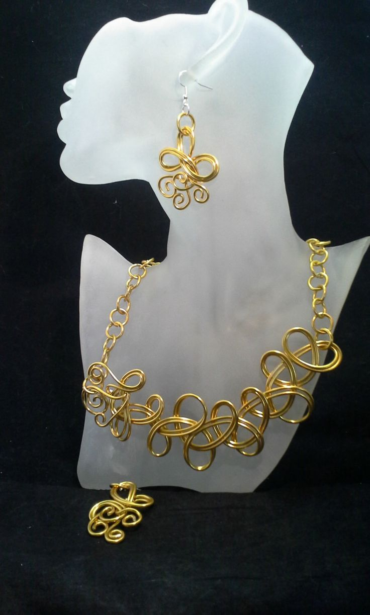 Gold Colored Wire Necklace and Earrings Set, Gold Jewelry Set , Aluminum Wire, Jewelry Set, Wire Art, Wire Necklace, Wire Jewelry by SoftlySisterDesigns on Etsy https://www.etsy.com/listing/203289506/gold-colored-wire-necklace-and-earrings