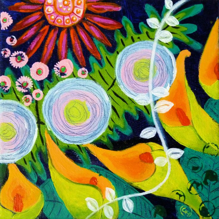 Floral abstraction #1 - Small format - Acrylics - by CelinaS - a member of the Hangar Artist Group (www.hangarart.org)