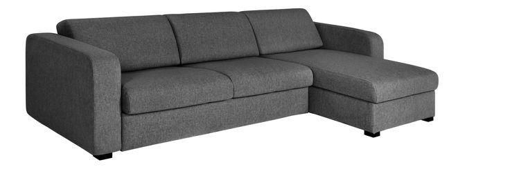 Porto 3 - Sofá cama grande en tela con ángulo reversible y almacenaje - Habitat
