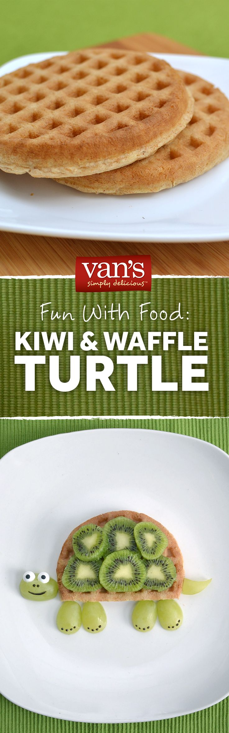 Bet the kiddos won't be slow to the table for this playful breakfast idea! Slice up some kiwis and add some grapes to your waffles to make this cute turtle idea!