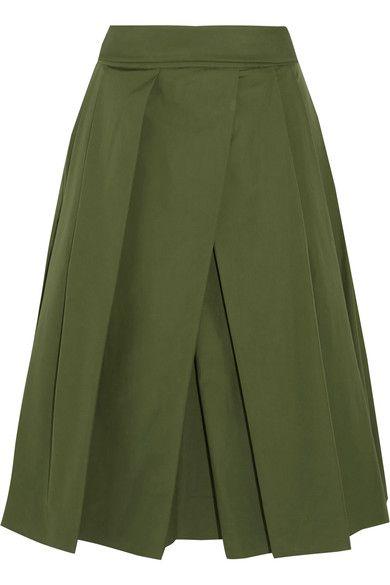 Jil Sander | Pleated cotton-poplin midi skirt | NET-A-PORTER.COM